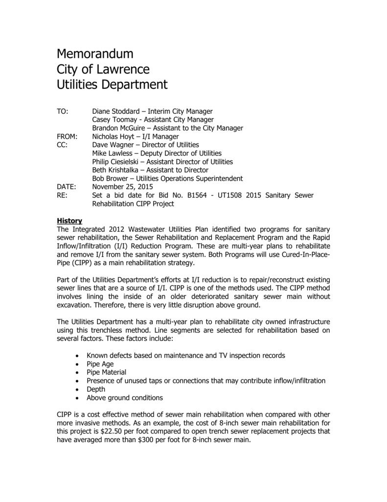 Memorandum - City of Lawrence