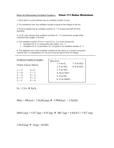Chem 111 Redox Worksheet
