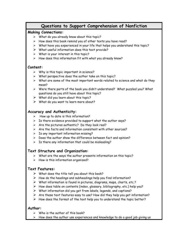Questions to Support Comprehension of Nonfiction
