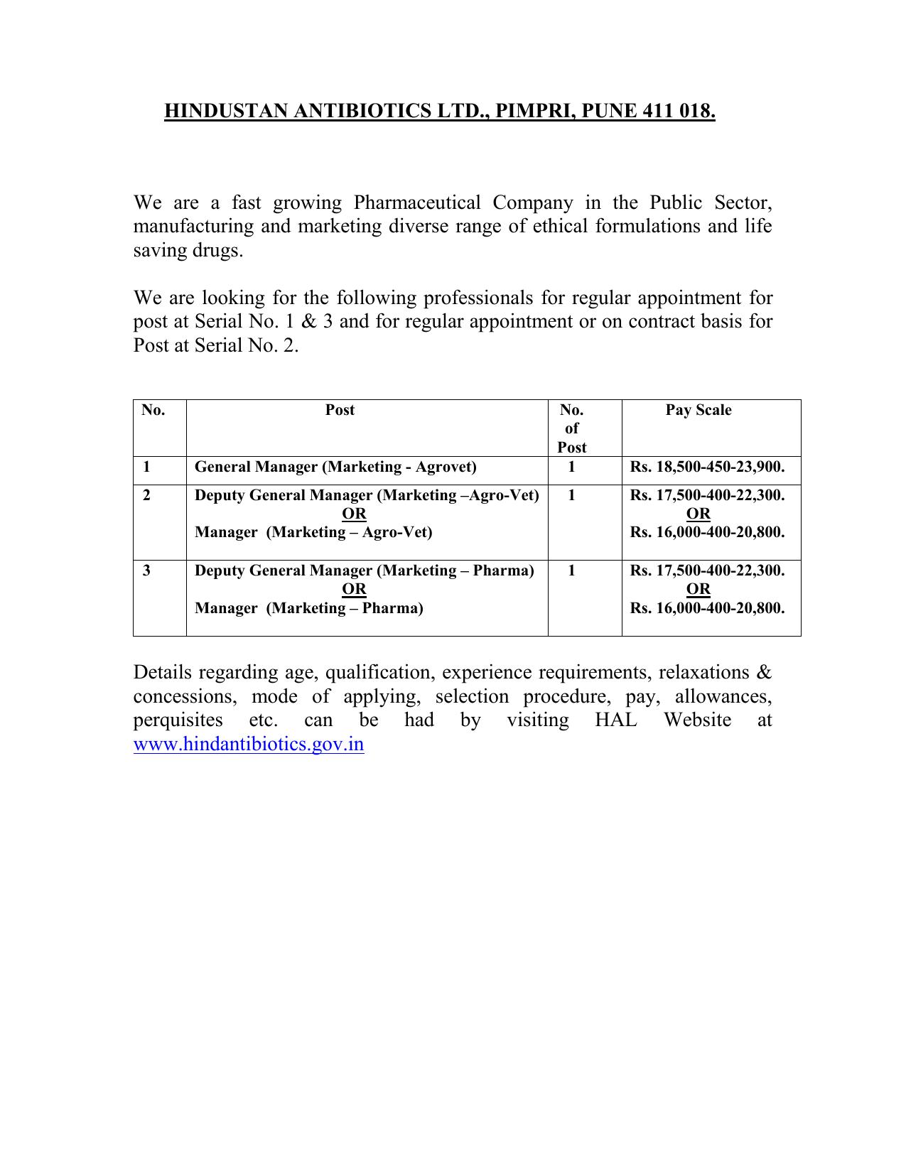 HINDUSTAN ANTIBIOTICS LTD - Hindustan Antibiotics Limited
