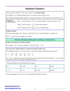 Math Mammoth Rational Numbers Worktext