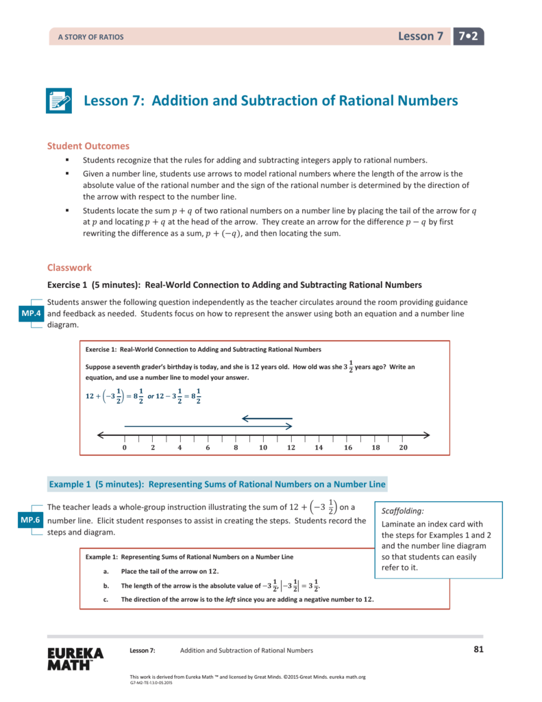 Lesson 7: Addition and Subtraction of Rational Numbers