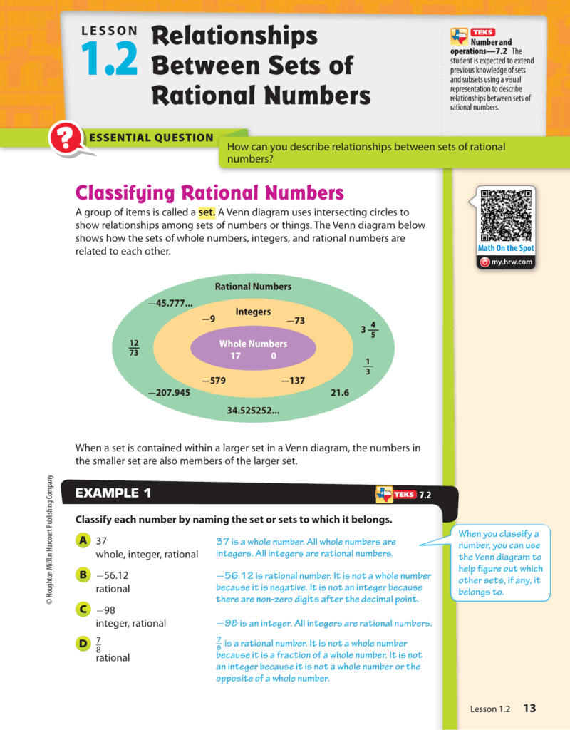 1.2 Relationships Between Sets of Rational Numbers