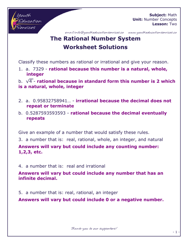 The Rational Number System Worksheet Solutions – Rational or Irrational Worksheet