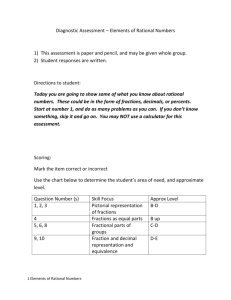 Diagnostic Assessment – Elements of Rational Numbers 1) This