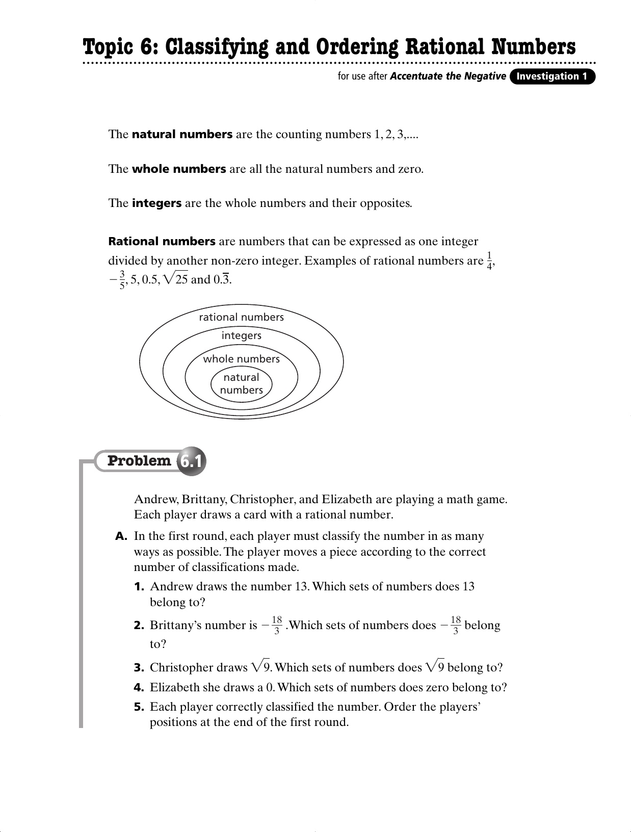 Worksheets Compare And Order Rational Numbers Worksheet topic 6 classifying and ordering rational numbers