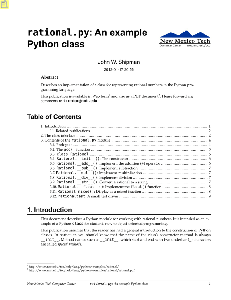 rational py: An example Python class