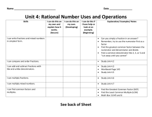 Unit 4: Rational Number Uses and Operations