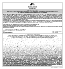 Notice Ad October 4, 2011 - Birla Sun Life Mutual Fund