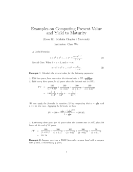 Examples on Computing Present Value and Yield to