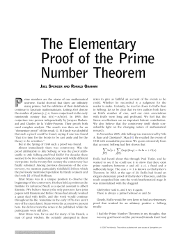 The Elementary Proof of the Prime Number Theorem