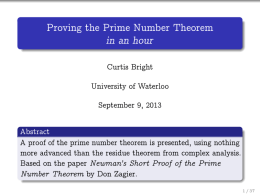Proving the Prime Number Theorem in an hour