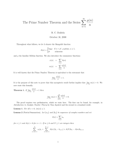The Prime Number Theorem and the Series ∑ µ(n) n