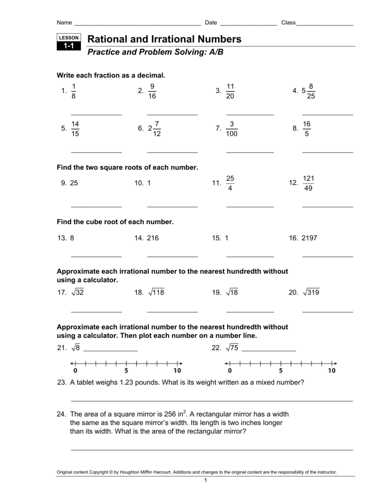 Worksheets Worksheets On Rational And Irrational Numbers rational and irrational numbers