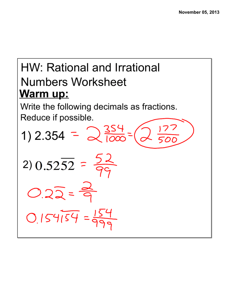 Hw Rational And Irrational Numbers Worksheet