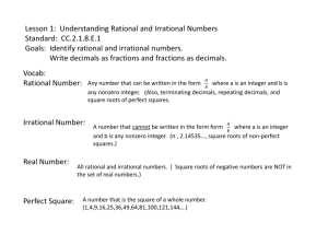 Lesson 1: Understanding Rational and Irrational Numbers Standard