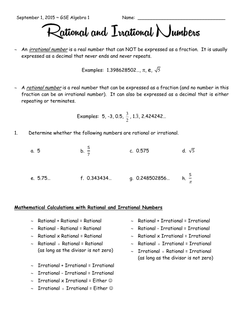 22-22-225 Rational and Irrational Numbers For Rational Irrational Numbers Worksheet