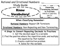 Rational and Irrational Numbers Study Guide