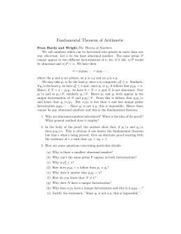 Alternate Proof of Fundamental Theorem with Study Questions