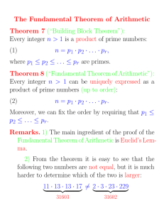 "The Fundamental Theorem of Arithmetic Theorem 7 (""Building Block"