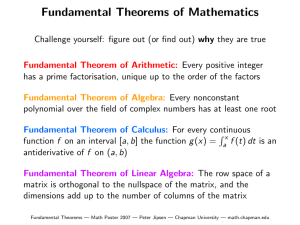 Fundamental Theorems of Mathematics