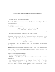 CAUCHY`S THEOREM FOR ABELIAN GROUPS We start with the