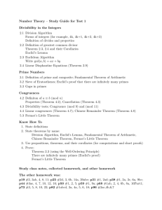 Number Theory – Study Guide for Test 1 Divisibility in the Integers