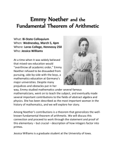 Emmy Noether and the Fundamental Theorem of Arithmetic