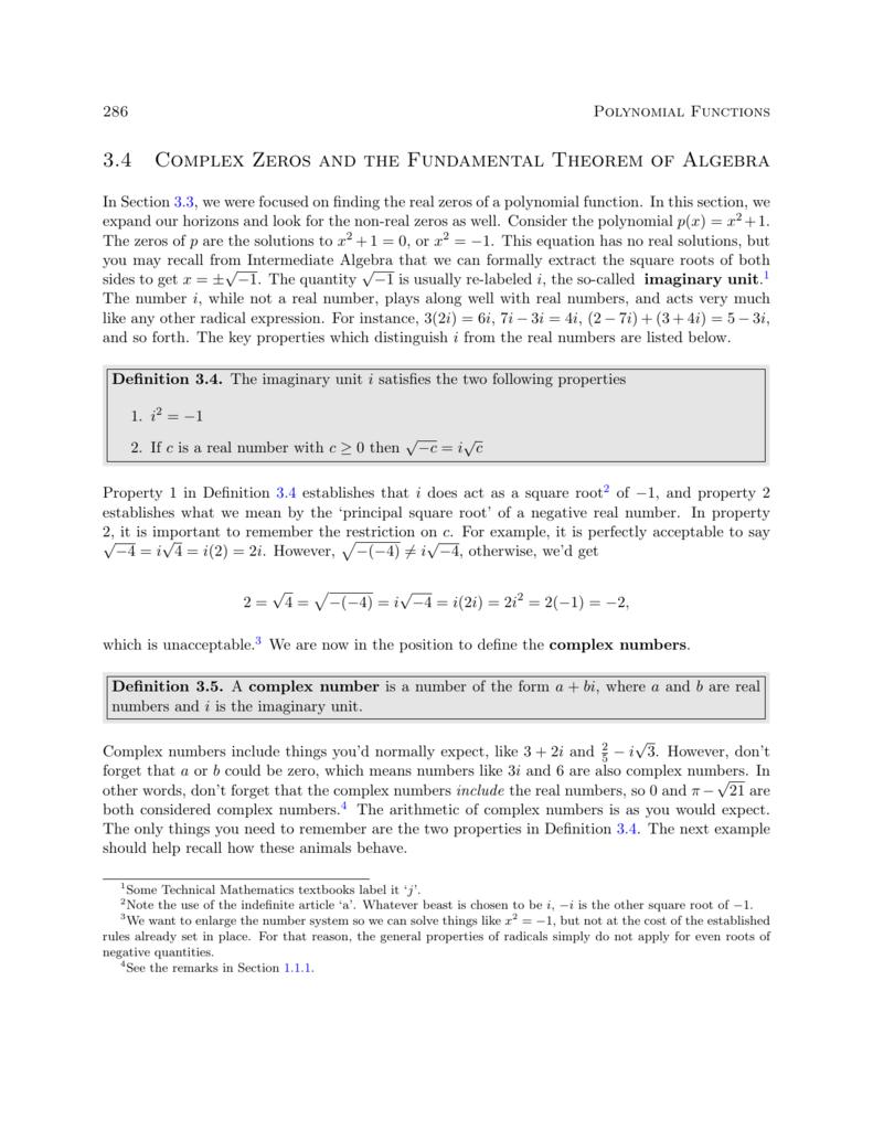 34 Complex Zeros And The Fundamental Theorem Of Algebra