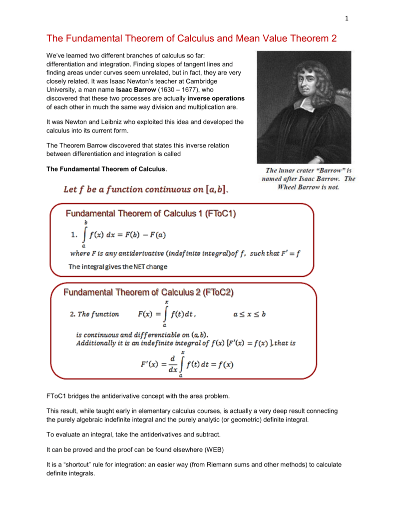 The Fundamental Theorem of Calculus and Mean