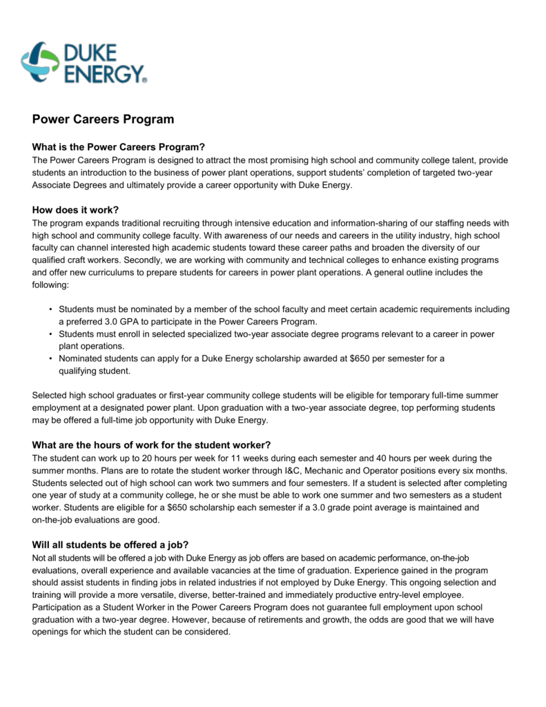 Power Careers Program