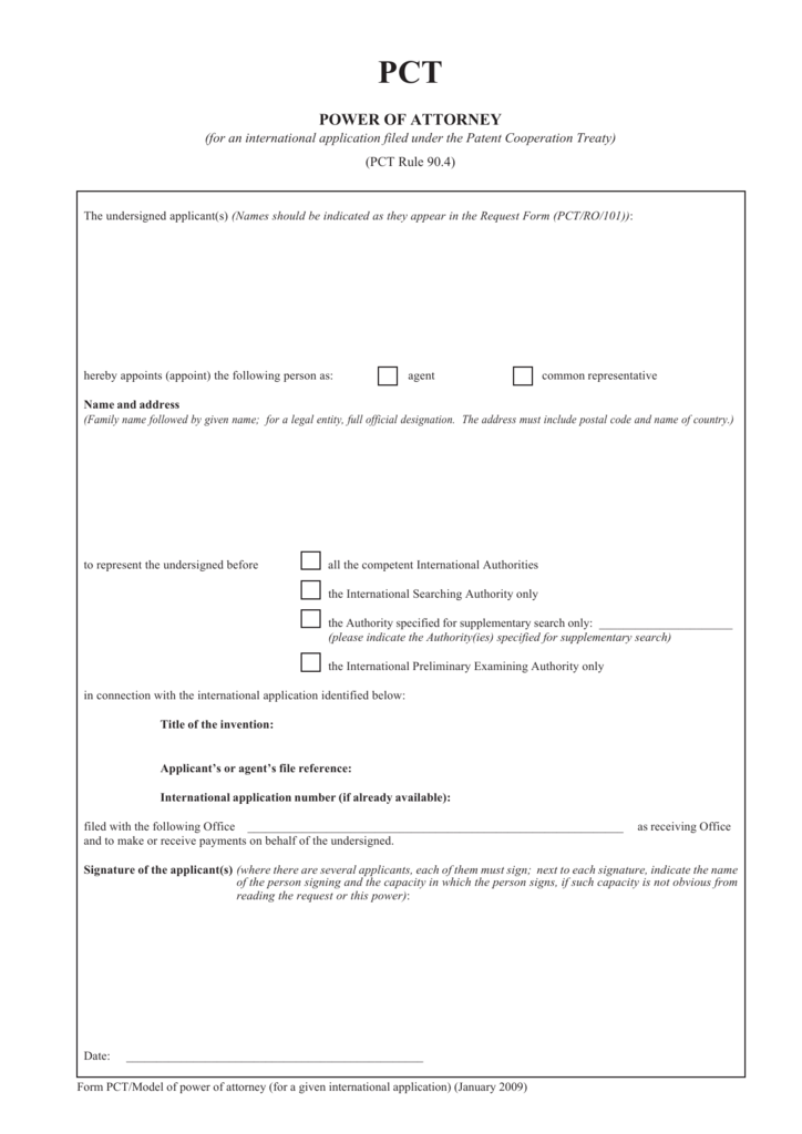 form pctmodel of power of attorney