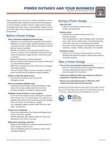 POWER OUTAGES AND YOUR BUSINESS