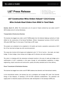 L&T Construction Wins Orders Valued ` 2213