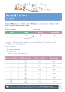 Decimal fractions - Department of Education NSW