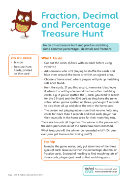 Fraction, Decimal and Percentage Treasure Hunt