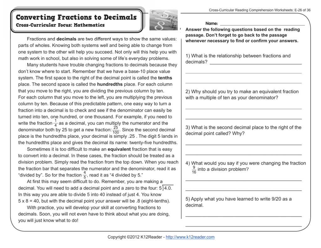 - Cross-Curricular Reading Comprehension Worksheets: E