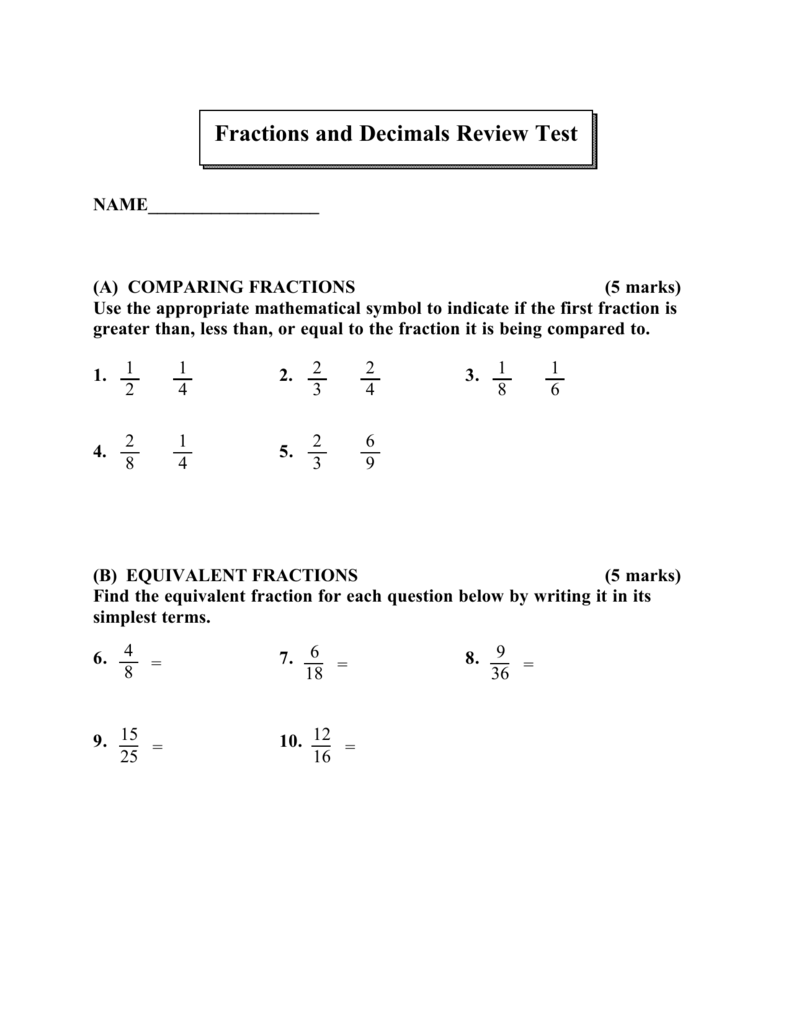 Fractions And Decimals Review Test