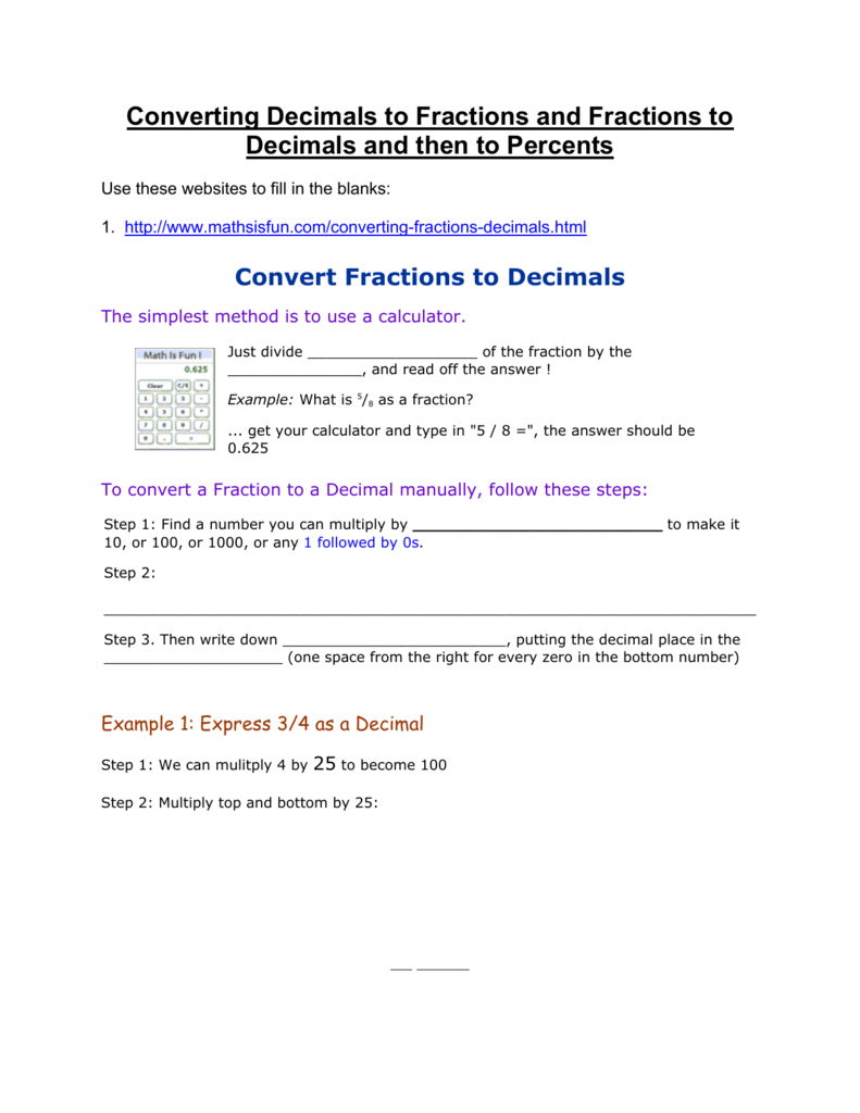 Converting Decimals to Fractions and Fractions to Decimals