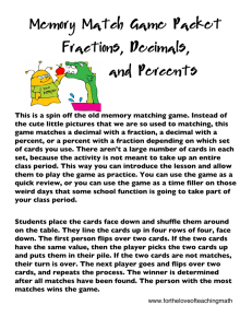 Memory Match Game Packet Fractions, Decimals, and Percents