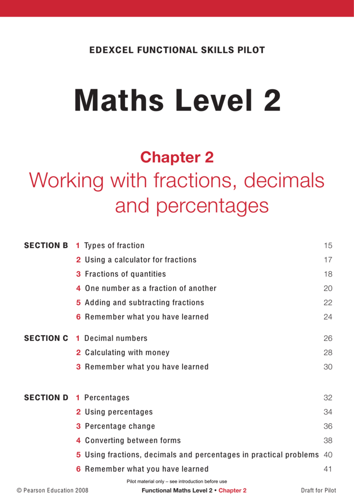 Maths Level 2: Chapter 2 (Working with fractions, decimals