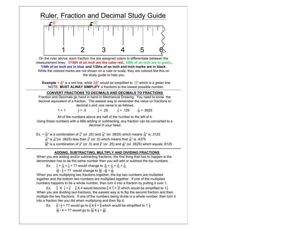 Ruler Fraction And Decimal Study Guide 1 2 3 4 5 6