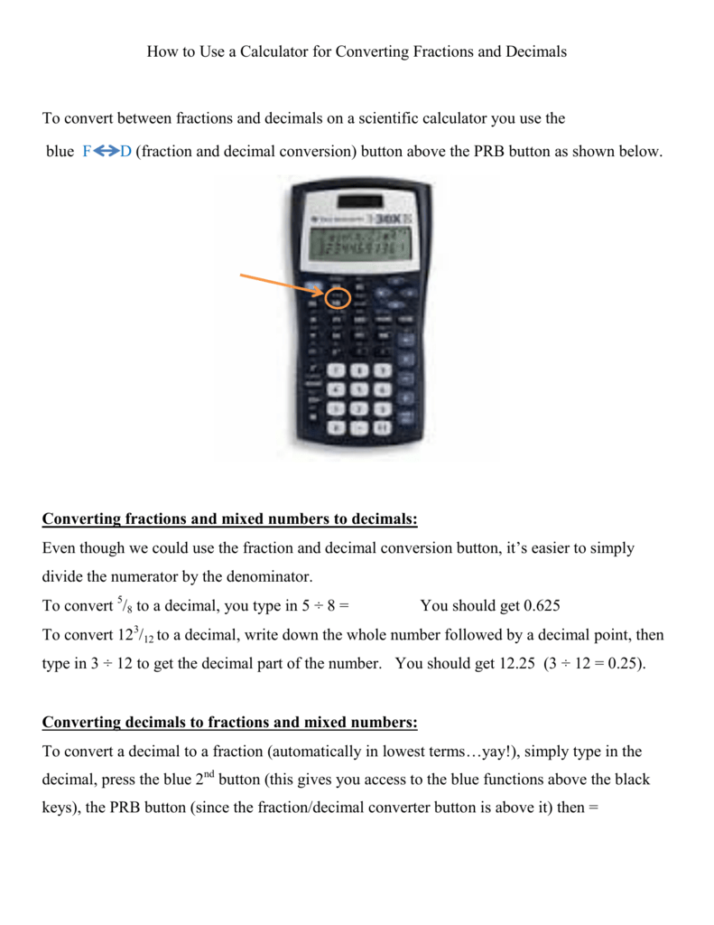 How to Use a Calculator for Converting Fractions and Decimals To
