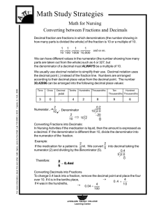 Converting between fractions and decimals