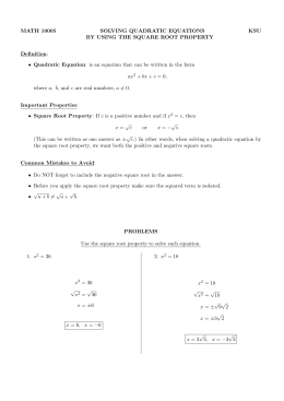 Solving Quadratic Equations by the Square Root Property