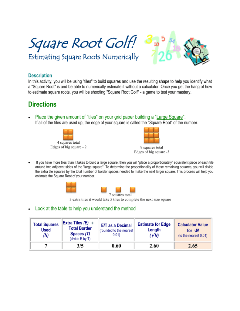 Square Root Golf! Intended For Estimating Square Root Worksheet