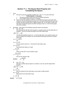 Section 11.1 - The Square Root Property and Completing the Square