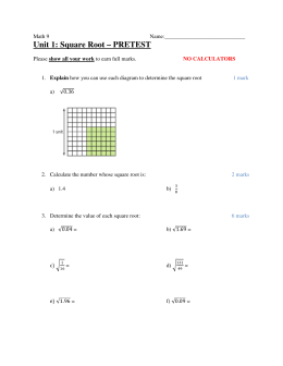 Unit 1: Square Root – PRETEST