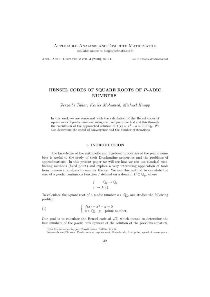 Hensel codes of square roots of p