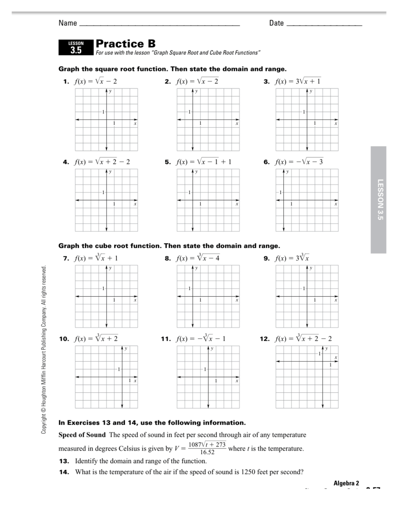 graph the square root function then state the domain and range Graph – Graphing Square Root Functions Worksheet